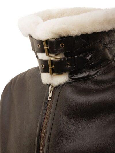 Mens Brown Ginger Aviator Leather Jacket - Collar - Milton