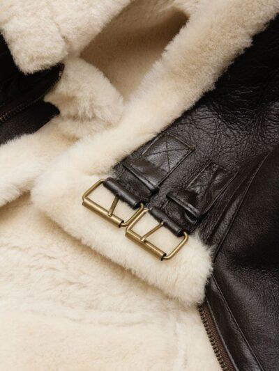 Mens Brown Ginger Aviator Leather Jacket - Inner Lining - Milton