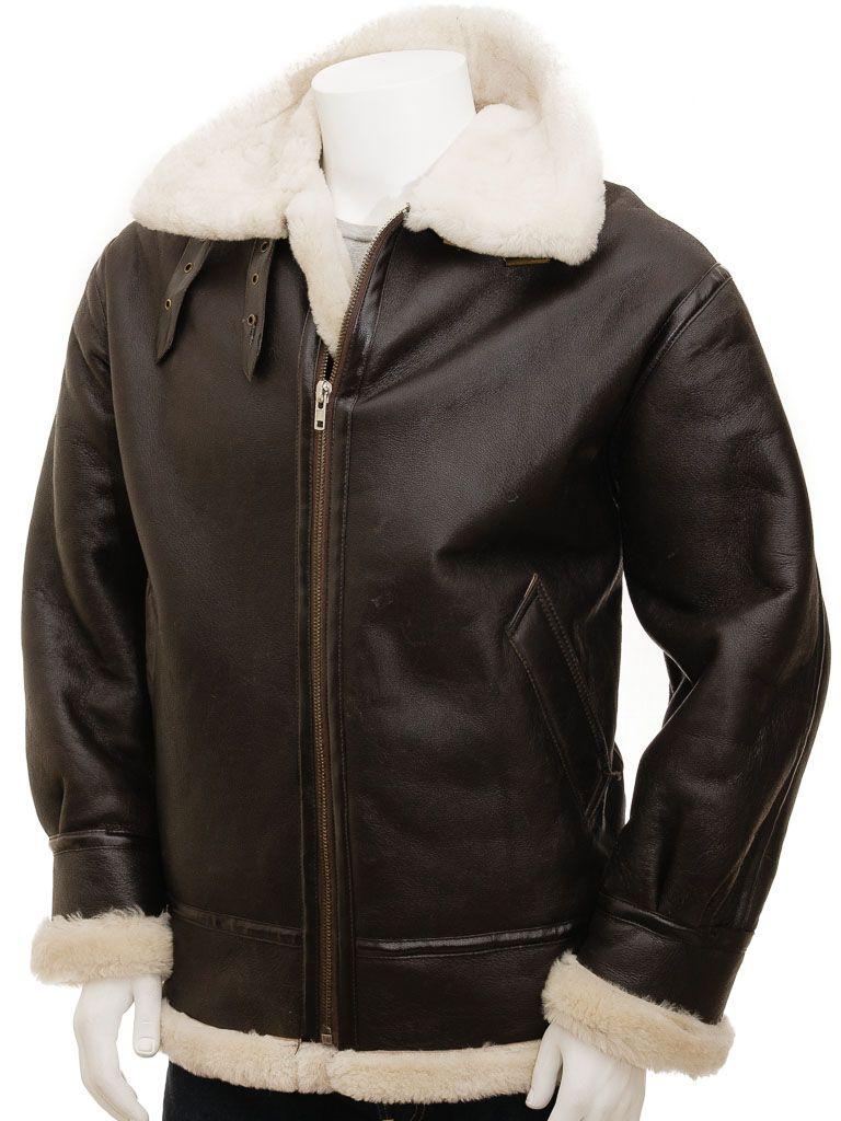 Men's Brown Ginger Aviator Leather Jacket: Milton