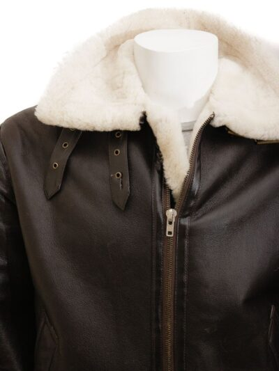 Mens Brown Ginger Aviator Leather Jacket - Milton