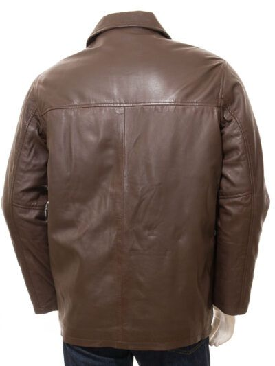 Mens Brown Reefer Style Leather Coat - Back- Moenui