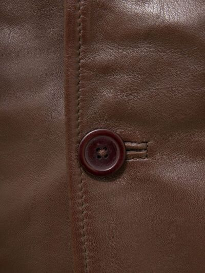Mens Brown Reefer Style Leather Coat - Button - Moenui