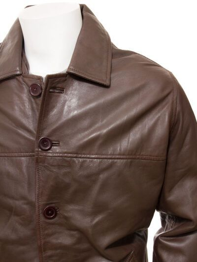 Mens Brown Reefer Style Leather Coat - Close - Moenui