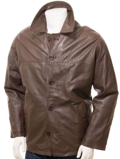 Mens Brown Reefer Style Leather Coat - Front - Moenui