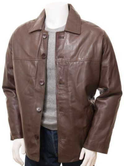 Mens Brown Reefer Style Leather Coat - Moenui