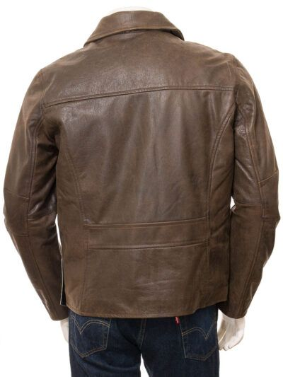 Mens Brown Shirt Collar Biker Leather Jacket - Back - Naseby