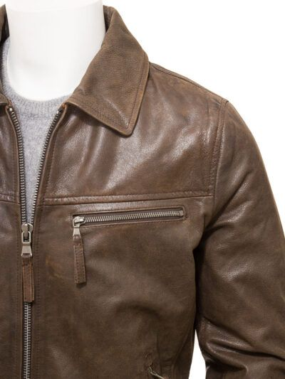 Mens Brown Shirt Collar Biker Leather Jacket - Front Closer - Naseby