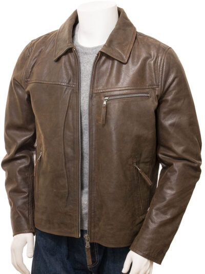 Mens Brown Shirt Collar Biker Leather Jacket - Front Open - Naseby