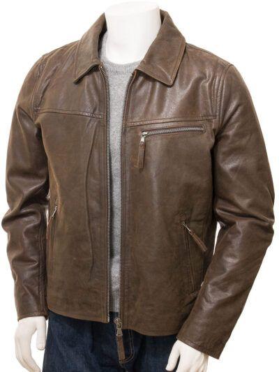 Mens Brown Shirt Collar Biker Leather Jacket - Front Open - Naseby