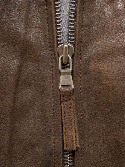 Mens Brown Shirt Collar Biker Leather Jacket - Zip - Naseby
