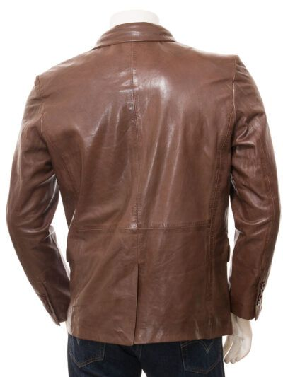 Mens Brown Simple Leather Blazer - Back - Normanby