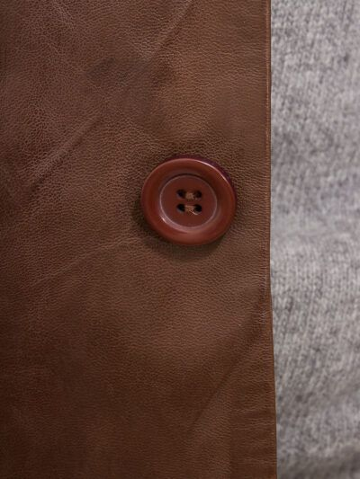 Mens Brown Simple Leather Blazer - Button - Normanby