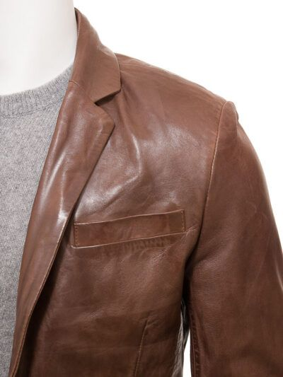 Mens Brown Simple Leather Blazer - Front - Normanby