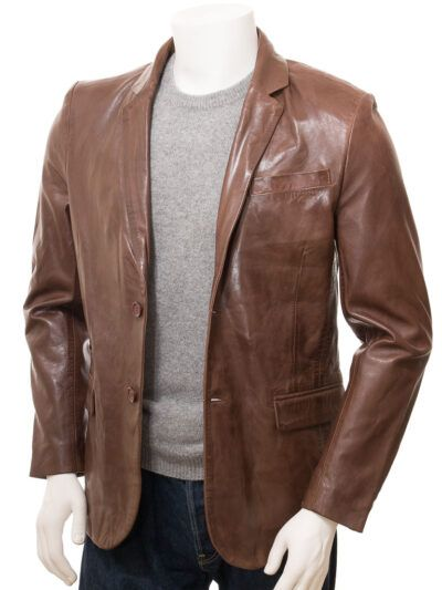 Mens Brown Simple Leather Blazer - Normanby