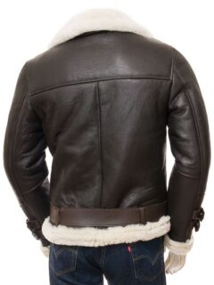 Men's Brown Aviator Shearling Leather Jacket: Raglan