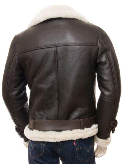 Mens Brown Vintage Aviator Leather Jacket - Back - Raglan