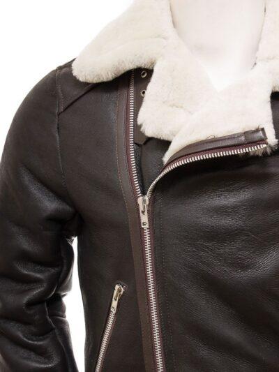 Mens Brown Vintage Aviator Leather Jacket - Collar - Raglan