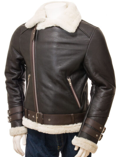 Mens Brown Vintage Aviator Leather Jacket - Front Close - Raglan