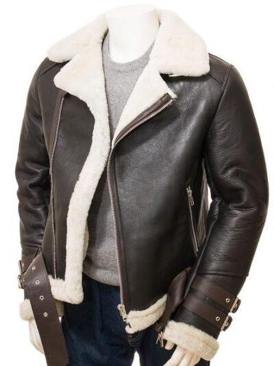 Mens Brown Vintage Aviator Leather Jacket - Front Open - Raglan