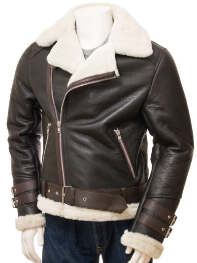 Mens Brown Vintage Aviator Leather Jacket - Front - Raglan