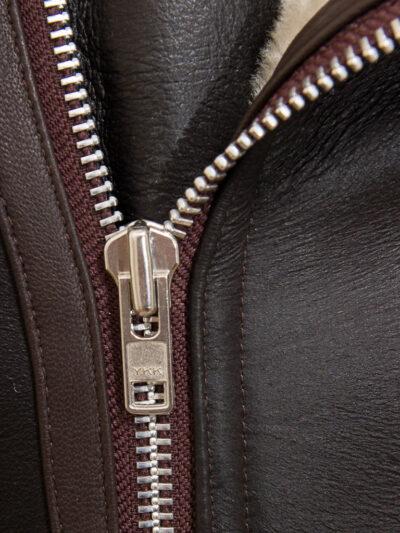 Mens Brown Vintage Aviator Leather Jacket - Front Zip - Raglan