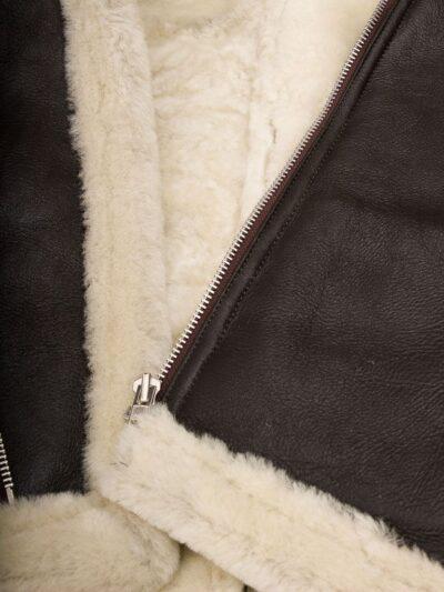 Mens Brown Vintage Aviator Leather Jacket - Inner Lining - Raglan