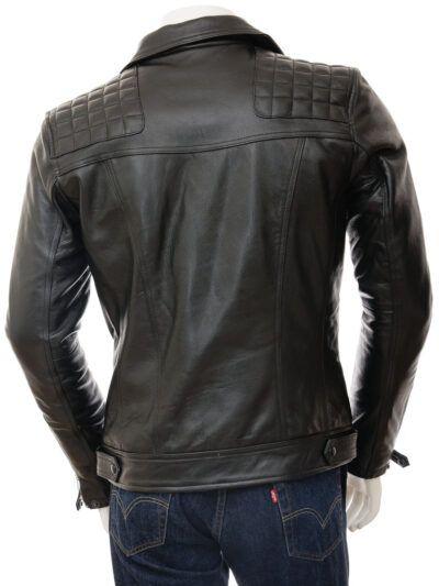 Mens Classic Black Biker Leather Jacket - Back - Tasman