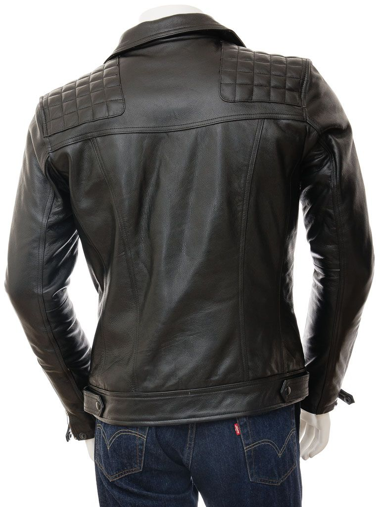 Men's Classic Black Biker Leather Jacket: Tasman