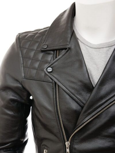 Mens Classic Black Biker Leather Jacket - Front - Tasman