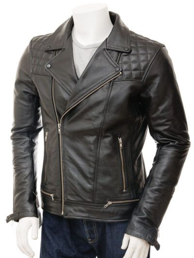 Mens Classic Black Biker Leather Jacket - Tasman