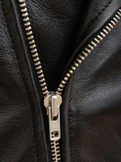 Mens Classic Black Biker Leather Jacket - Zip - Tasman
