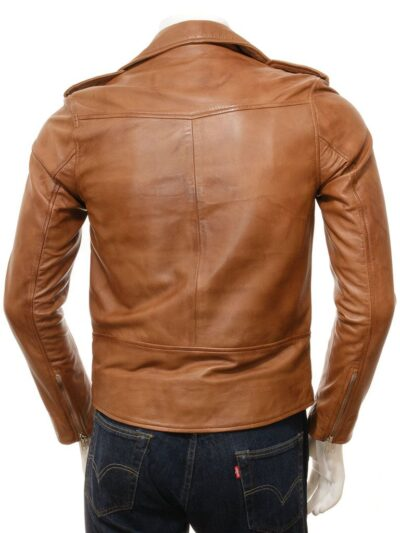 Mens Classic Tan Biker Leather Jacket - Back - Hope