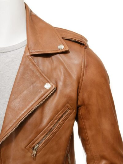 Mens Classic Tan Biker Leather Jacket - Collar - Hope