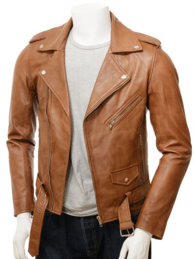 Mens Classic Tan Biker Leather Jacket - Front - Hope