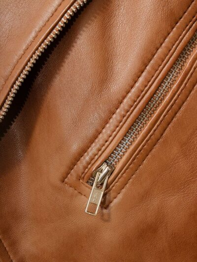 Mens Classic Tan Biker Leather Jacket - Pocket - Hope