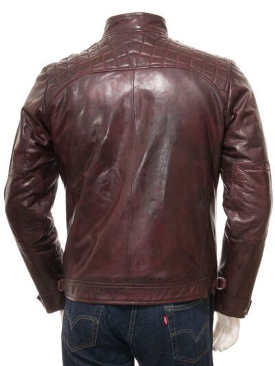 Mens Oxblood Cafe Racer Leather Jacket - Back - Ngataki