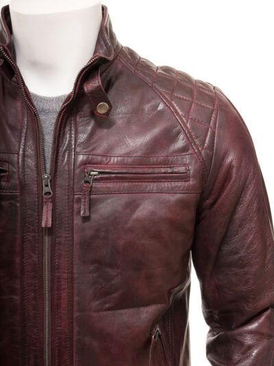 Mens Oxblood Cafe Racer Leather Jacket - Front Closer - Ngataki
