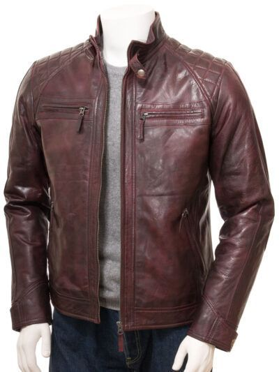 Mens Oxblood Cafe Racer Leather Jacket - Ngataki