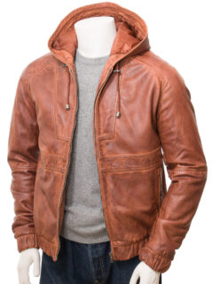 Men's Reddish Tan Hooded Bomber Leather Jacket: Onewhero