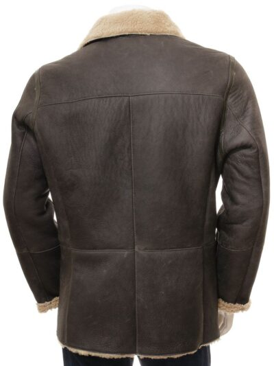 Mens Shearling Dark Brown Leather Peacoat - Back - Oban