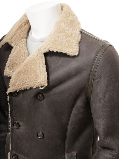 Mens Shearling Dark Brown Leather Peacoat - Collar - Oban