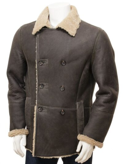 Mens Shearling Dark Brown Leather Peacoat - Front - Oban