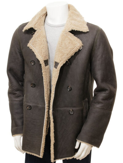 Mens Shearling Dark Brown Leather Peacoat - Front Open - Oban