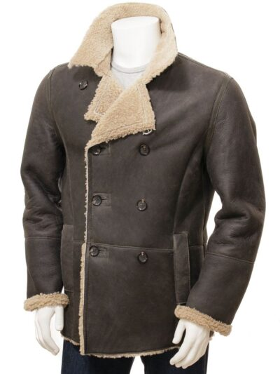 Mens Shearling Dark Brown Leather Peacoat - Oban