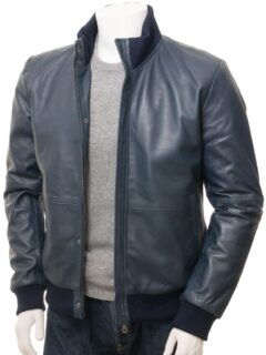 Men's Simple Blue Bomber Leather Jacket: Rolleston