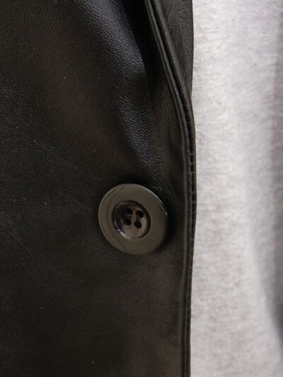 Mens Simple Leather Blazer - Button - Tapu