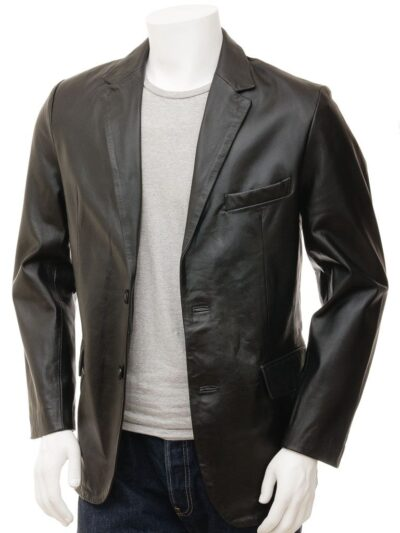 Mens Simple Leather Blazer - Front - Tapu