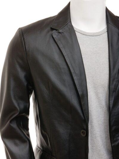 Mens Simple Leather Blazer - Tapu