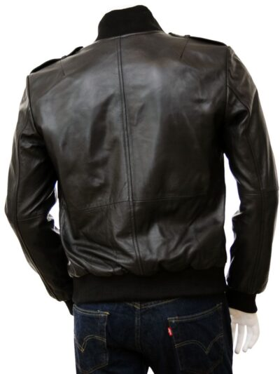 Mens Stylish Black Bomber Leather Jacket - Back - Wairio