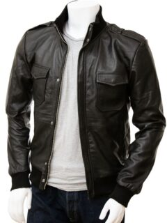 Men's Stylish Black Bomber Leather Jacket: Wairio